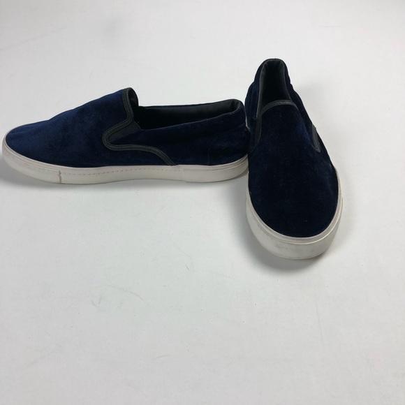 Zara Man Blue Velvet Slip Ons Rubber